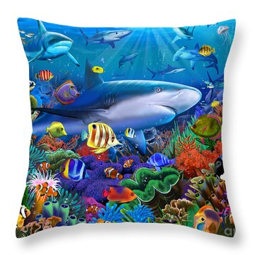Shark Reef Throw Pillow