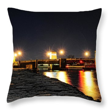 Shark River Inlet At Night Throw Pillow by Paul Ward