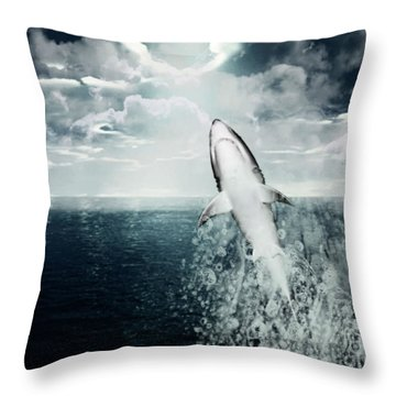Shark Watch Throw Pillow