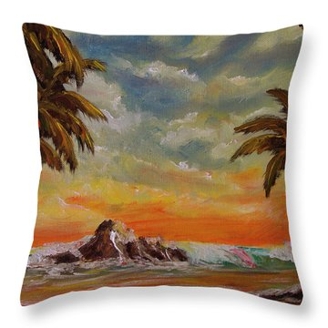 Sharks Cove North Shore Oahu #394 Throw Pillow by Donald k Hall