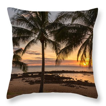 Sharks Cove Sunset 3 - Oahu Hawaii Throw Pillow by Brian Harig
