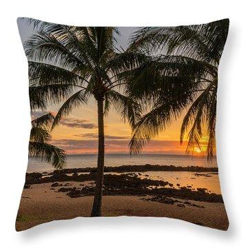 Sharks Cove Sunset 4 - Oahu Hawaii Throw Pillow