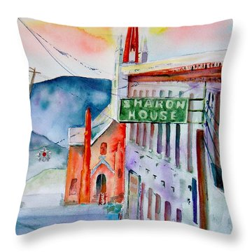 Throw Pillow featuring the painting Sharon House by Sharon Mick