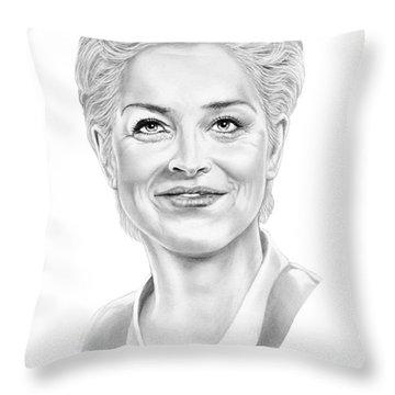 Sharon Stone Throw Pillow by Murphy Elliott