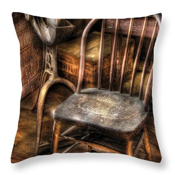 Sharpener - Grinder And A Chair Throw Pillow by Mike Savad