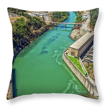 Shasta Lake Dam Throw Pillow by Billie-Jo Miller