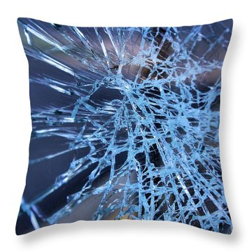 Throw Pillow featuring the photograph Shattered Glass In Color by John S