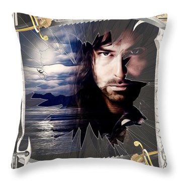 Shattered Kili With Swords Throw Pillow by Kathy Kelly