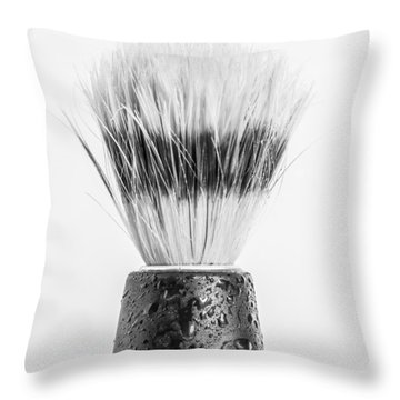 Throw Pillow featuring the photograph Shaving Brush by Gary Gillette