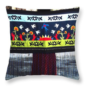 Throw Pillow featuring the tapestry - textile Shawl - Lost Birds Return by Chholing Taha