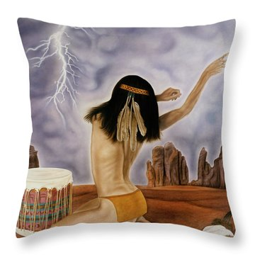 She Called The Rain Throw Pillow
