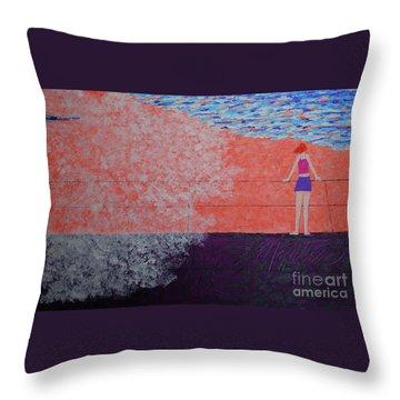 The Beach At Sunset Throw Pillow