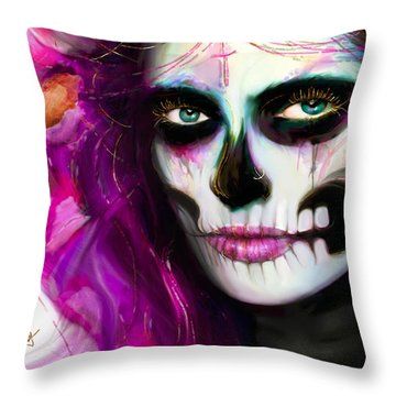 She, Dia De Los Muertos Throw Pillow