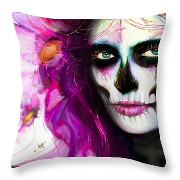 She, Dia De Los Muertos Throw Pillow