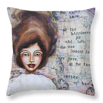Throw Pillow featuring the mixed media She Didn't Know - Inspirational Spiritual Mixed Media Art by Stanka Vukelic