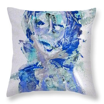 She Dreams In Blue Throw Pillow