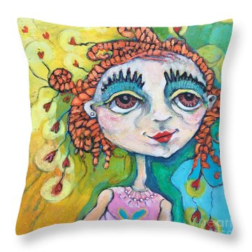 She Has Lots Of Heart To Give Throw Pillow by Michelle Spiziri