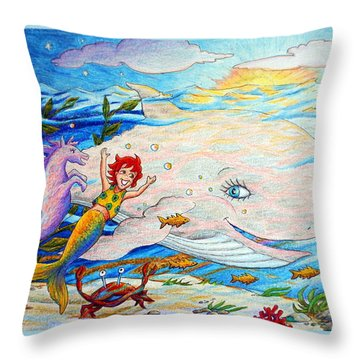 She Joyfully Swims  Throw Pillow
