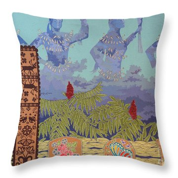 Throw Pillow featuring the painting She Makes Rain by Chholing Taha