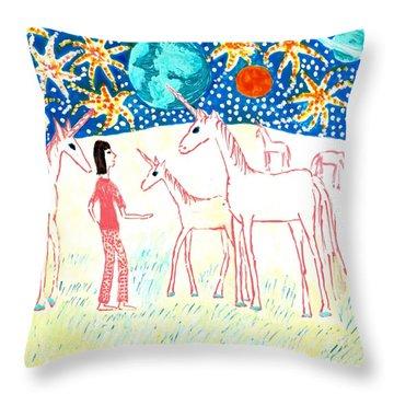 She Meets The Moon Unicorns Throw Pillow by Sushila Burgess