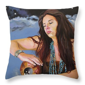 She Paints With Stars Throw Pillow by J W Baker