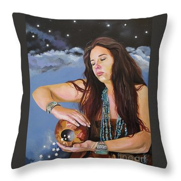 She Paints With Stars Throw Pillow