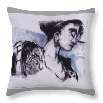 She Pauses Throw Pillow by Mykul Anjelo