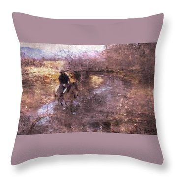 She Rides A Mustang-wrangler In The Rain II Throw Pillow