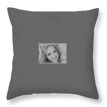 She Smiles Throw Pillow by Jessica Perkins