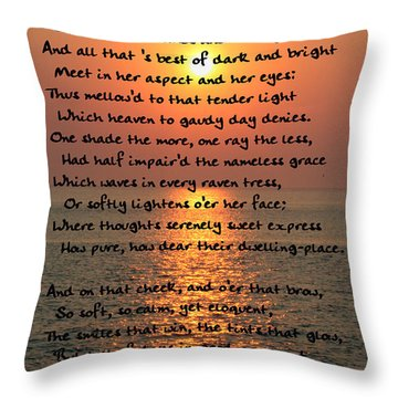 She Walks In Beauty-cape May Sunset Throw Pillow