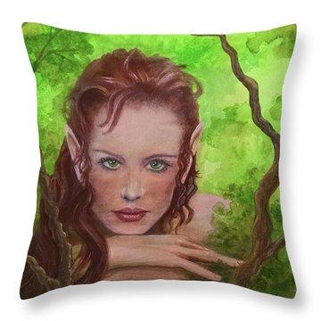 She Watches Through The Veil Throw Pillow