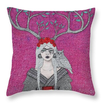 Throw Pillow featuring the mixed media She Wears The Crown by Natalie Briney