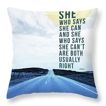 Throw Pillow featuring the mixed media She Who Can- Art By Linda Woods by Linda Woods