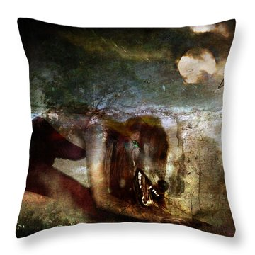 She Wolf  Throw Pillow by Perennial Dreams Studios