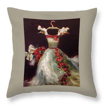 She Wore A White Dress With Roses Throw Pillow by Nancy Medina