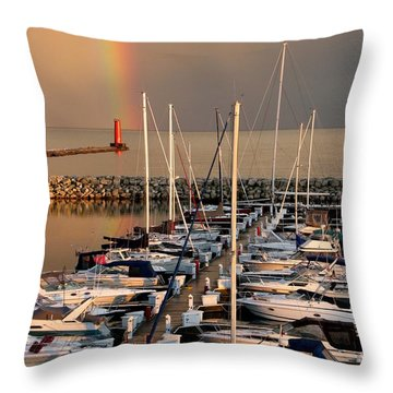 Sheboygan Harbor Rainbow Throw Pillow