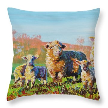 Sheep And Lambs In Devon Landscape Bright Colors Throw Pillow