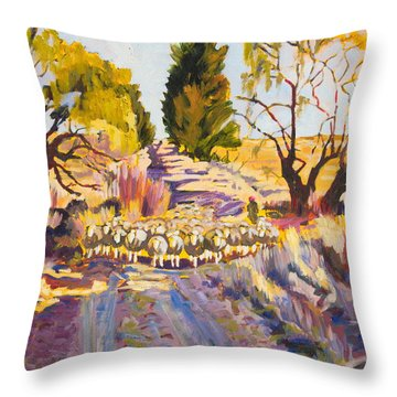 Sheep And Shepherd At Sunset Oil Painting Bertram Poole Throw Pillow