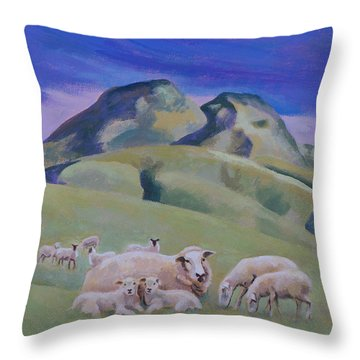 Sheep At Sutter Buttes Throw Pillow