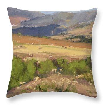 Sheep Gate Throw Pillow by Jane Thorpe