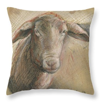 Sheep Head Throw Pillow by Juan Bosco