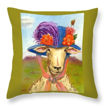 Throw Pillow featuring the painting Sheep In Fancy Hat by Susan Thomas