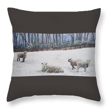 Sheep In Field Throw Pillow