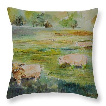 Sheep In Pasture Throw Pillow by Geeta Biswas