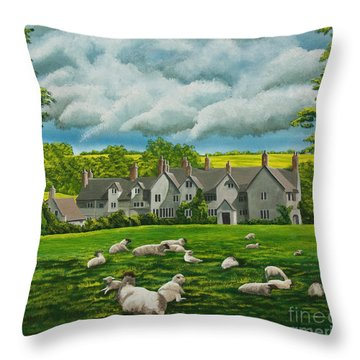 Sheep In Repose Throw Pillow by Charlotte Blanchard