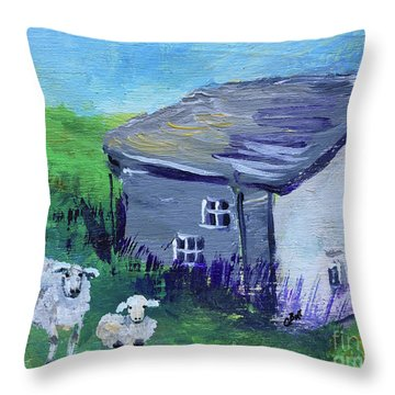 Throw Pillow featuring the painting Sheep In Scotland  by Claire Bull