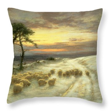 Sheep In The Snow Throw Pillow
