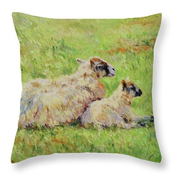 Sheep In The Spring Time,la Vie Est Belle Throw Pillow