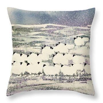 Sheep In Winter Throw Pillow by Suzi Kennett