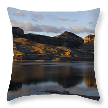Sheep Mountain Sunrise - Panoramic-signed-12x55 Throw Pillow by J L Woody Wooden